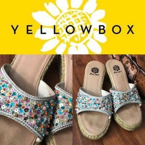 YellowBox Beaded & Sequin Hemp Wedge Sandals